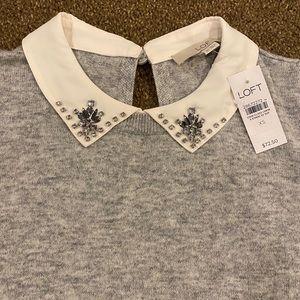 NWT Loft beaded peter pan collar sweater